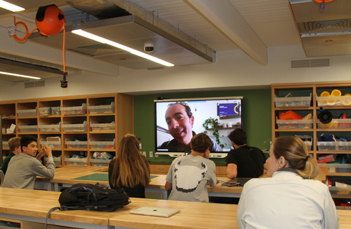 Adam Bromwich '92 Skypes with STEAM Class